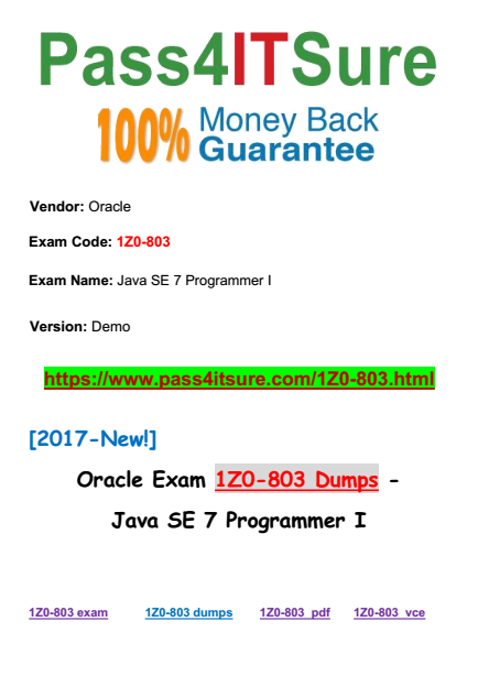 oracle java certification 1z0-803